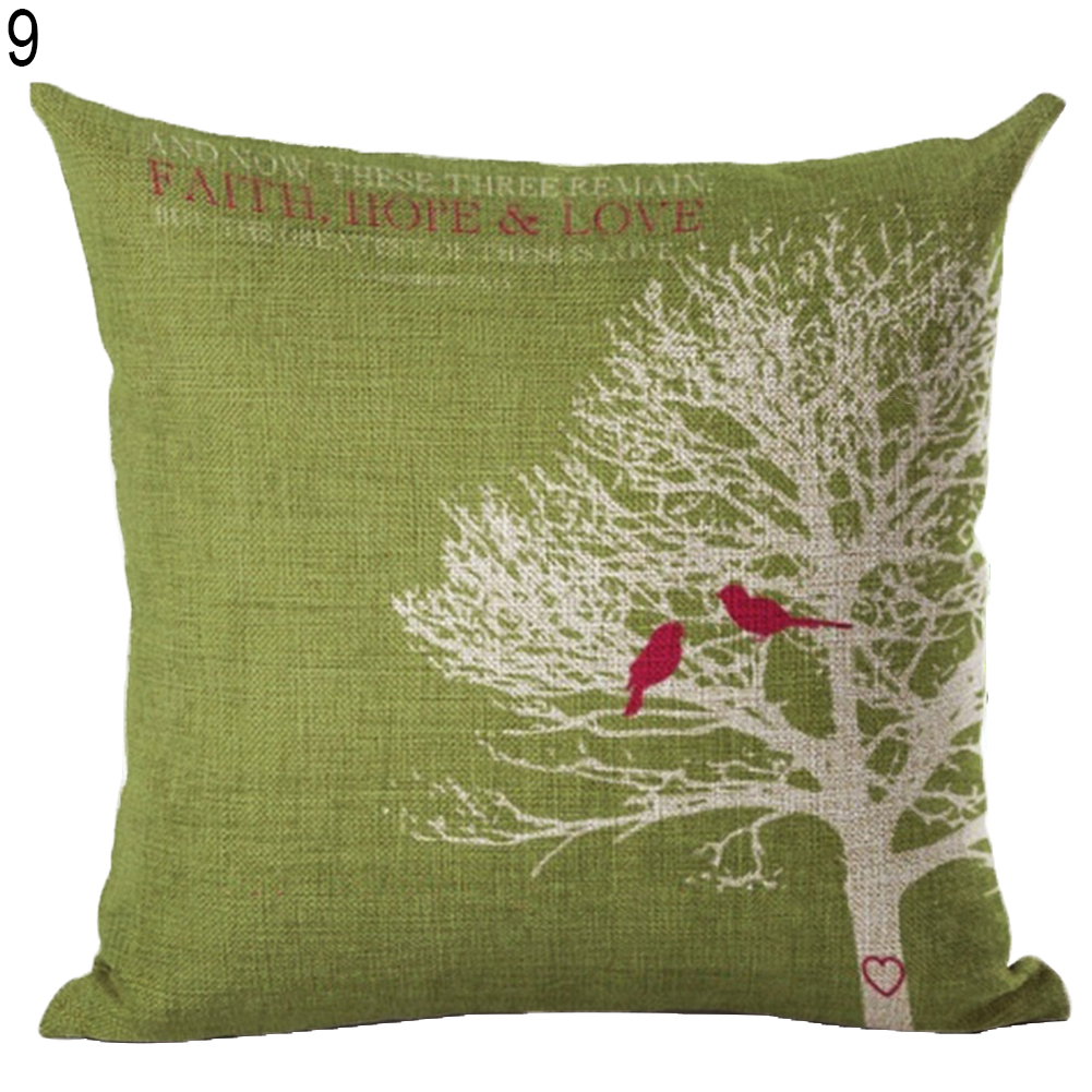 Bird-Square-Linen-Pillow-Cover-Case-Cushion-Cover-Home-Sofa-Car-Decor-Lots-Fill thumbnail 18
